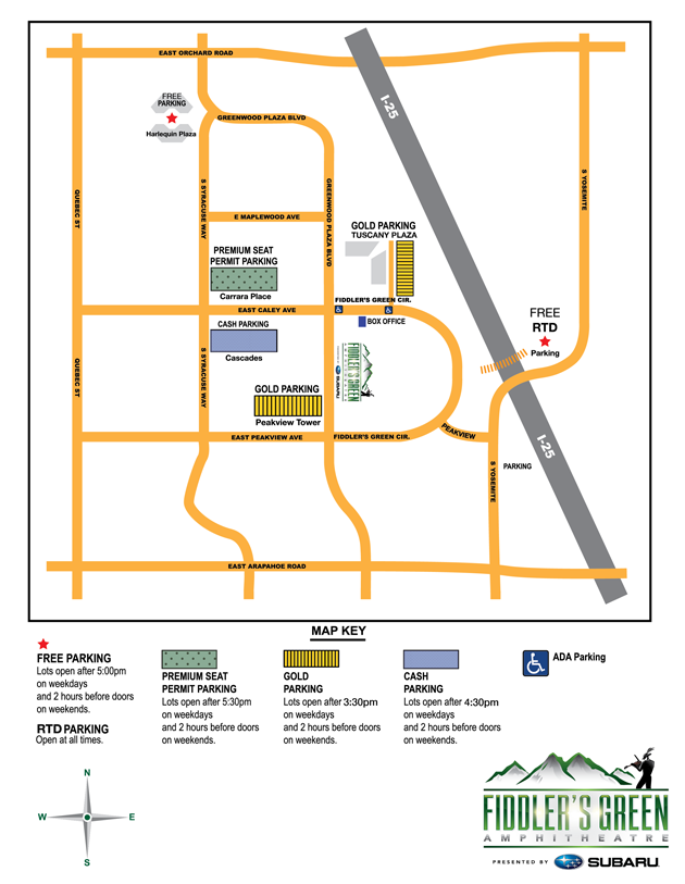 Fiddlers Green Parking Map